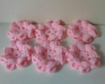 crochet flowers, appliques, craft supplies, sewing supplies, Crochet flowers set of 6