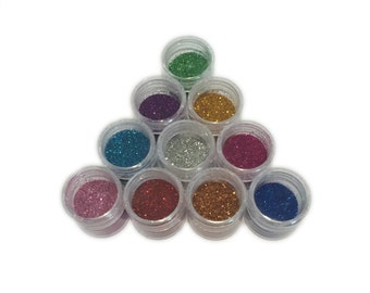 Pots of Craft Glitter 10 Colours
