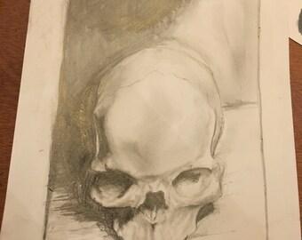 Graphite skull drawing