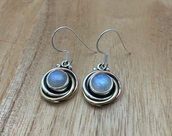 Rainbow Moonstone Earrings // 925 Sterling Silver with Gold Plating // Circular Design