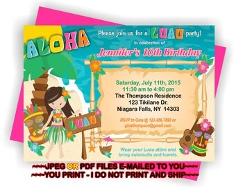 YOU PRINT - Personalized Luau Birthday Party Invitation, Luau Birthday Invite, Luau Invitation, Luau Birthday Printables - BIRINV65