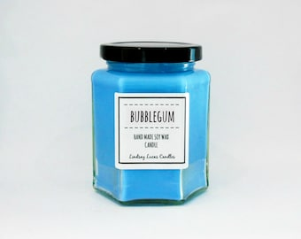 Bubblegum Scented Candle, Sweet Scent, Strong Scented Candle,  Bubblegum Candle, Bubblegum Scent, Soy Wax Candle, Jar Candle, Candle