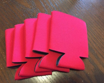 5 blank RED beverage insulator covers/ can/beer holder