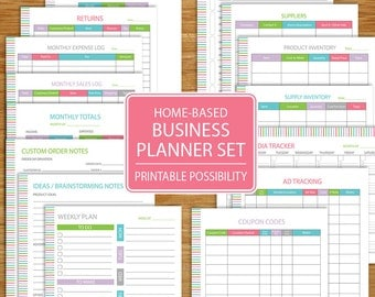 Small Business Planner - Home Business Planner Etsy Business - Track Business Income, Expenses, Inventory, Advertising - tropical colors