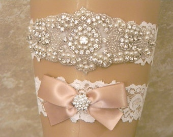 Wedding Garter, Wedding Garter Set, Bridal Garter, Pearl and Rhinestone Garter and Toss Garter, Lace Wedding Garter, 27 Satin Ribbon Colors