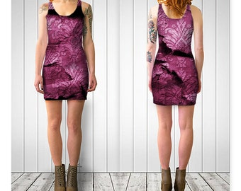 RIPPED Pink   Bodycon Dress Women Teen Ladies Clothes Clothing Wearable Art Reversible XS-S-M-L-XL