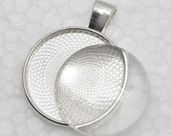 1 inch Pendant Trays + glass cabochon set, Blank Pendant Bases, 25mm Bezel Pendant Settings for Glass or Stickers