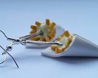 French fries earrings - Couleur-lavande polymer clay jewelry