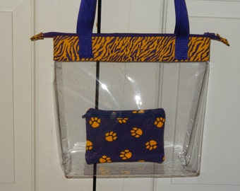 Purple and Gold, Clear Vinyl Bag, Zippered tote, Shoulder straps or Crossbody, LSU Stadium Rules, Pick trim, Tigers Clear purse, Add wallet