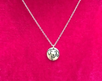 Dachshund Necklace Silver Plate Charm with Sterling Silver Chain