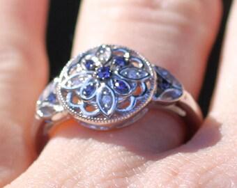 Sterling Silver Genuine Sapphire & .03 CTW Diamond Kaleidoscope Flower Ring with Vintage Milgrain Detailing