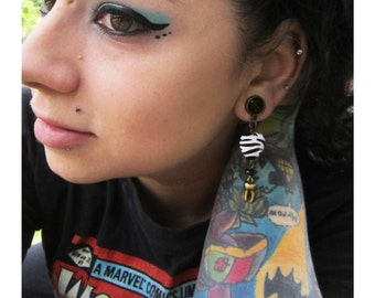 """Tooth Decay stretched dangle oddity earrings anatomy EAR PLUG you pick the gauge size 2g, 0g, 00g, 7/16"""", 1/2"""" aka 6mm, 8mm, 10mm, 12mm"""