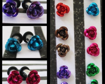 Aluminum Rose on a Stainless Steel EAR TUNNELS you pick the color and plug gauge size - 12g, 8g, 6g aka 2mm, 3mm, 4mm
