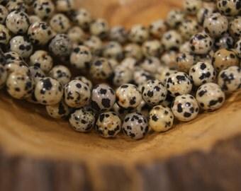 Natural Dalmation Jasper 6mm 8mm 10mm  Round Gemstone Beads-15 inch Strand