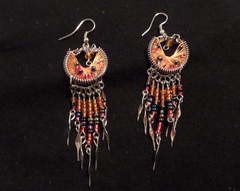 Orange Native Earrings, Indian Earrings, Handmade Earrings, Tribal Earrings