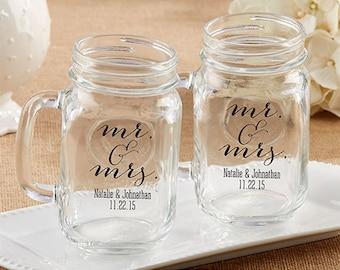 24 pcs Mr. & Mrs. Personalized 16 oz. Mason Jar Mug