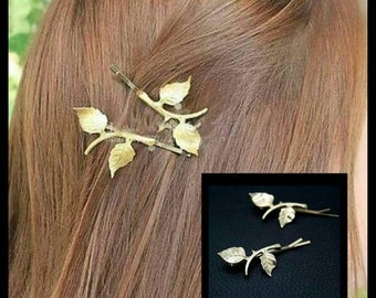 40% OFF Gold Branch Hair Pin Pair