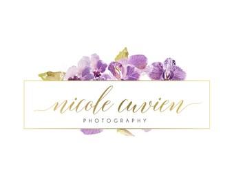 Logo Design Branding Package Premade Graphics Custom Text Gold Purple Violet Floral