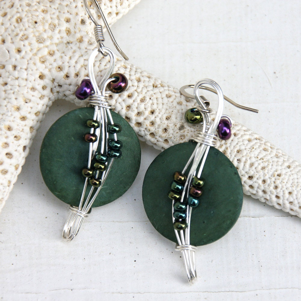 Green Costume Jewellery: Dark Green Earrings Costume Jewelry Forest Green Fun