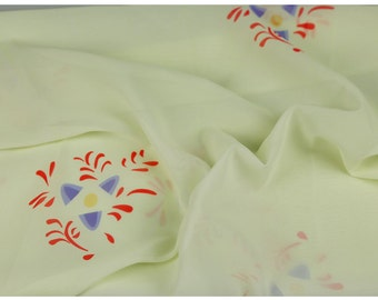 white red blue chiffon fabric flowers 5m
