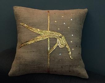 Pole Dance Decorative Pillow, Burlap Vintage Style With Sequins