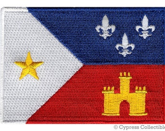 CAJUN FLAG PATCH embroidered iron-on Acadiana Acadian French Louisiana State New Orleans