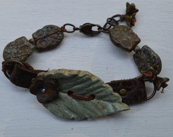 Boho leather Leaf bracelet LisaPetersArt - DayLilyStudio