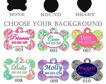 Custom Pet Tags Lilly Pulitzer Inspired.  Dog tag, Cat Tag, Customized, Monogrammed, 1 or 2 sided Personalized Tags. Bone, Circle or Heart