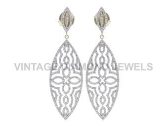 Pave Diamond Dangle Earrings, 14k Gold Earrings, Marquise Shape Gold Earrings, Real Diamond Fine Earrings Ethnic Jewelry VDJER-15952
