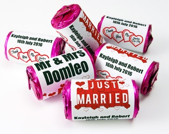 Personalised Love Heart Sweets, Wedding, Favours ( Select from 10 to 100 Rolls)