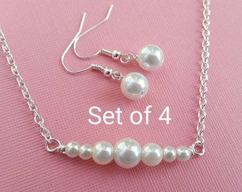 Pearl Bridesmaid Jewelry Set of 4 Stunning Set White Glass Pearl Necklace and Earrings