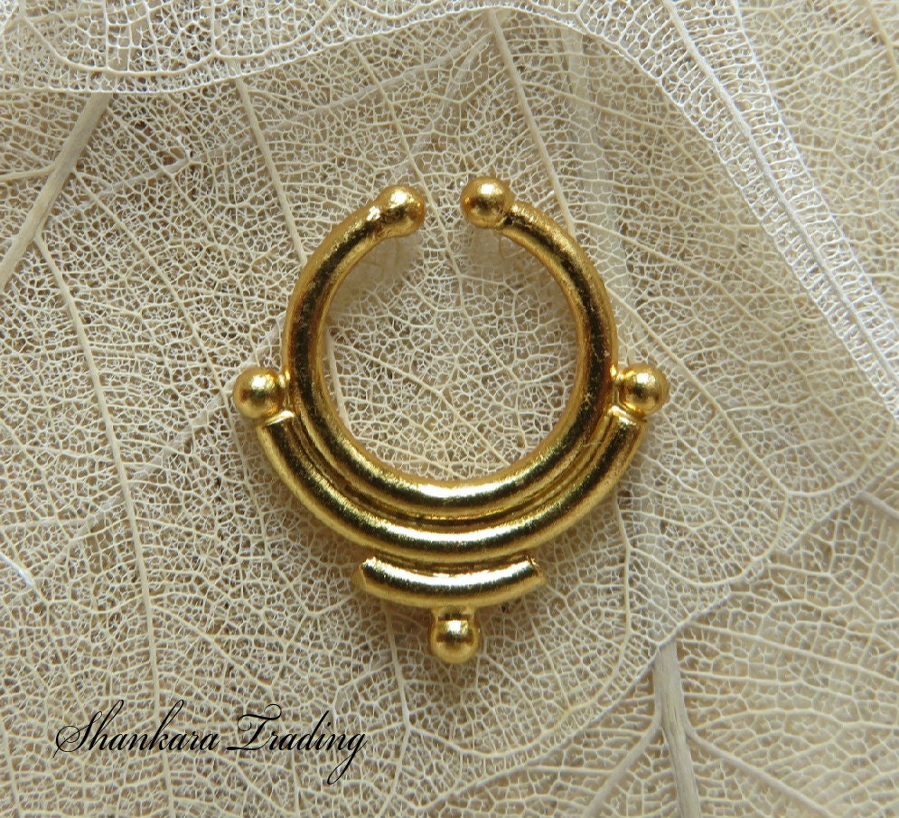 septum ring 14kt gold plated septum ring septum