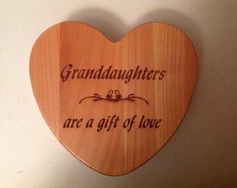 Laser Engraved Granddaughter Heartshaped Keepsake/Jewelry Box