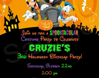 Mickey Mouse Halloween Invitations/Birthday Invites/Halloween Party/Printable/DIY/Costume Party