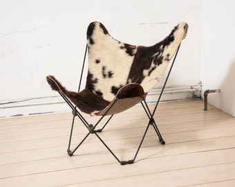 Vintage Butterfly Chair with Pony Hide Sling Seat