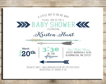Cute baby boy shower invitations, Blue, Mint and Grey _112