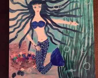 Mermaid and her Treasure on Metal