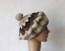 Vintage Beige Grey Brown Chevron Pure Wool Hand Knit Women Pom Pom Beret Beanie Hat