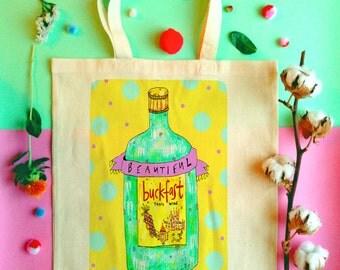 Beautiful Buckfast Illustrated Tote Bag, Boozy Fun Shopper Bag, Fun Bucky Handmade Tote