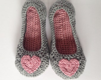 Womens pink heart and grey Crochet Slippers. Mothers Day Gift. Non-slip sole.