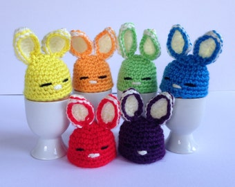 Easter Bunny egg cozies. Set of 6 crochet egg warmers. Easter gift.