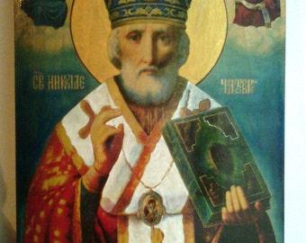 "Nicholas the Wonderworker  orthodox icon hand-painted of hot colors directly on solid wood 24х32х2 см ( 9.6""x12.8""x0.8"")"