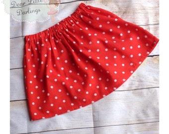 Girls Polkadot Elasticated Skirt