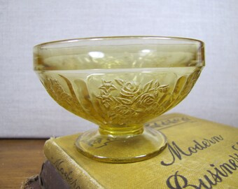 Deep Yellow Pressed Glass Custard Dish - Flower and Leaf Pattern
