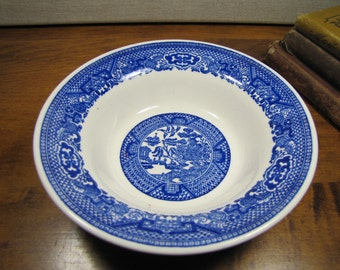 "Vintage ""Blue Willow"" Cereal Bowl - Creamy White - Shades of Blue"