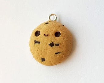 Happy Little Chocolate Chip Cookie Charm Polymer Clay Miniature Food Jewelry