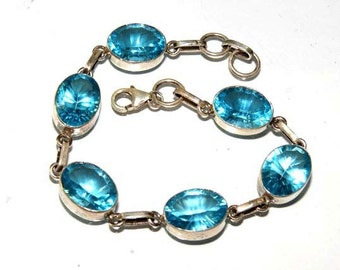 Blue Gless Gemstone with 92.5 Silver Bracelete Top Quality