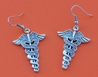 CADUCEUS MEDICAL Symbol EARRINGS,medical,nursing,caduceus,ems,emt,doctor,physician,nurse,rn,lpn,cna,1544