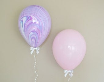 """11"""" Pink & Purple Marble Balloon + Bow Set - 6 Pack // Graduation Party Decor // First Birthday and Wedding Balloons"""
