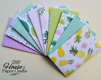 Set of 10 // Gift Card Holders // Gift Card Envelopes // Mini Envelopes // Pink and Mint Envelopes // Pineapples and Flamingoes